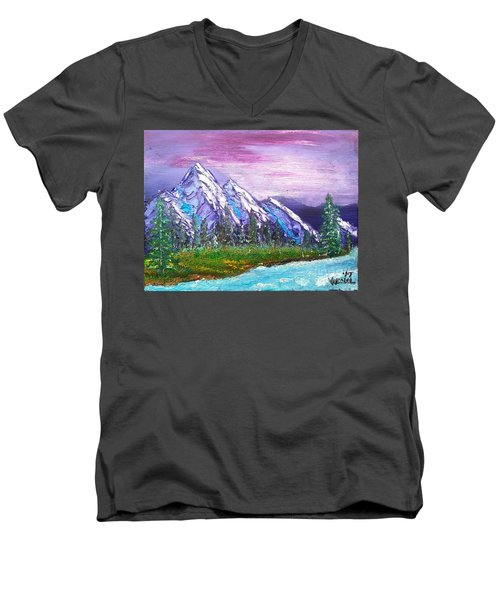 Mountain Meadow Landscape Scene Men's V-Neck T-Shirt