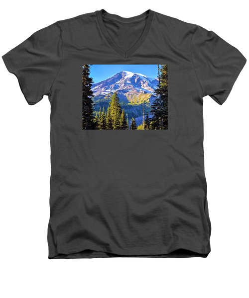 Men's V-Neck T-Shirt featuring the photograph Mountain Meets Sky by Anthony Baatz