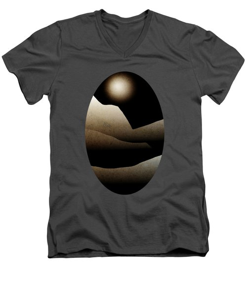 Mountain Moonlight Landscape Art Men's V-Neck T-Shirt by Christina Rollo