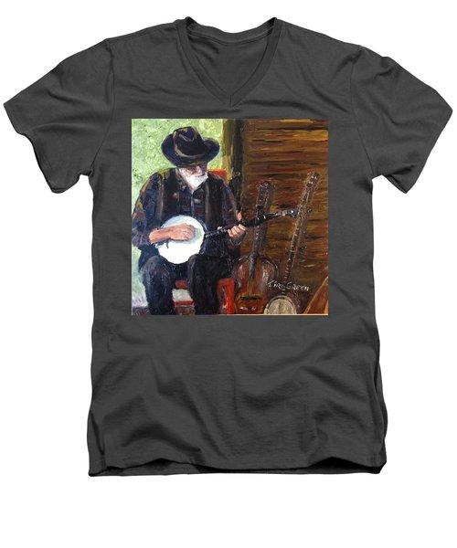 Mountain Music Men's V-Neck T-Shirt by T Fry-Green