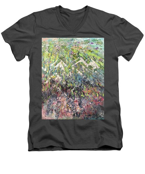 Mountain Of Many Colors Men's V-Neck T-Shirt by George Riney