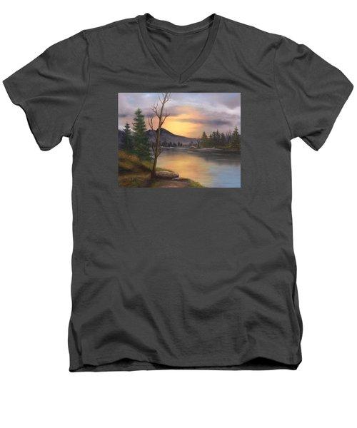Mountain Paradise Men's V-Neck T-Shirt by Sheri Keith