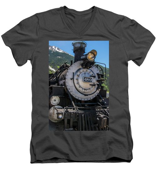Men's V-Neck T-Shirt featuring the photograph Mountain Ride by Colleen Coccia