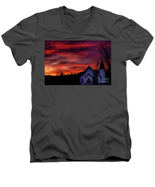 Men's V-Neck T-Shirt featuring the photograph Mountain Sunrise And Church by Thomas R Fletcher