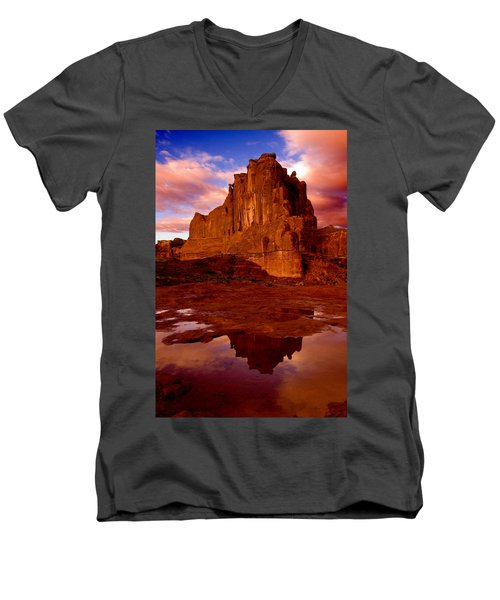 Men's V-Neck T-Shirt featuring the photograph Mountain Sunrise Reflection by Harry Spitz