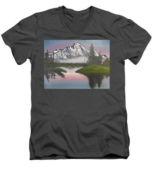 Mountain Sunset Men's V-Neck T-Shirt by Thomas Janos