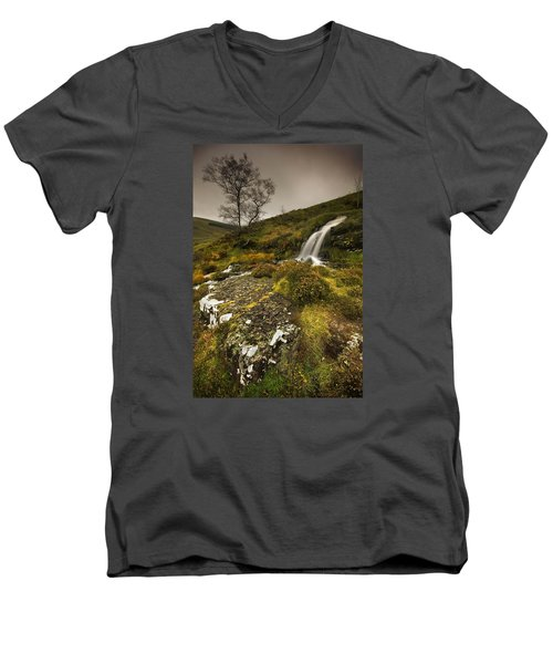 Men's V-Neck T-Shirt featuring the photograph Mountain Tears by John Chivers