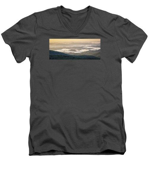 Mountain Valley Fog - Blue Ridge Parkway Men's V-Neck T-Shirt