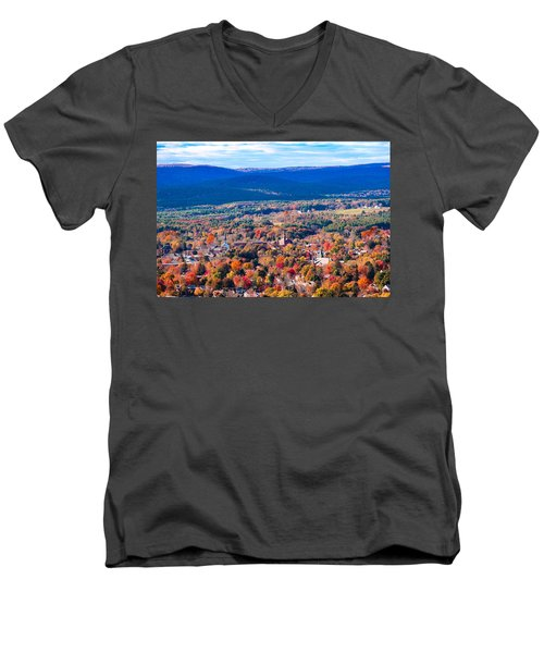 Men's V-Neck T-Shirt featuring the photograph Mountain View Of Easthampton, Ma by Sven Kielhorn