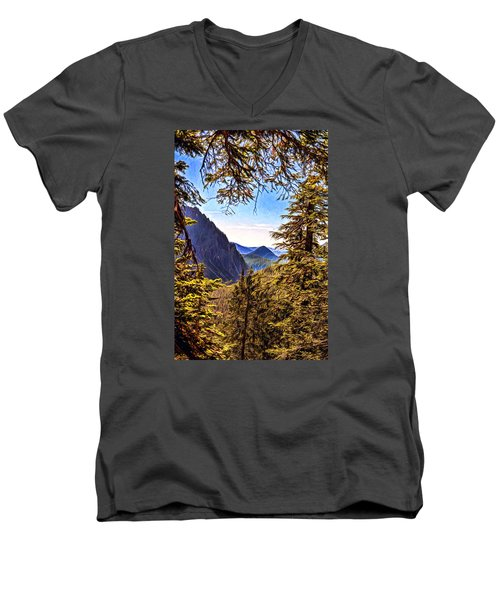 Men's V-Neck T-Shirt featuring the photograph Mountain Views by Anthony Baatz