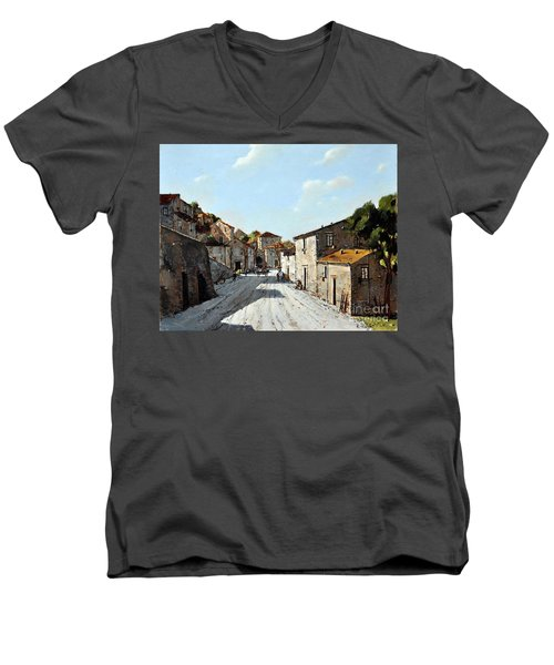 Men's V-Neck T-Shirt featuring the painting Mountain Village Main Street by Rosario Piazza
