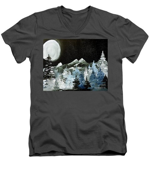Men's V-Neck T-Shirt featuring the painting Mountain Winter Night by Tom Riggs