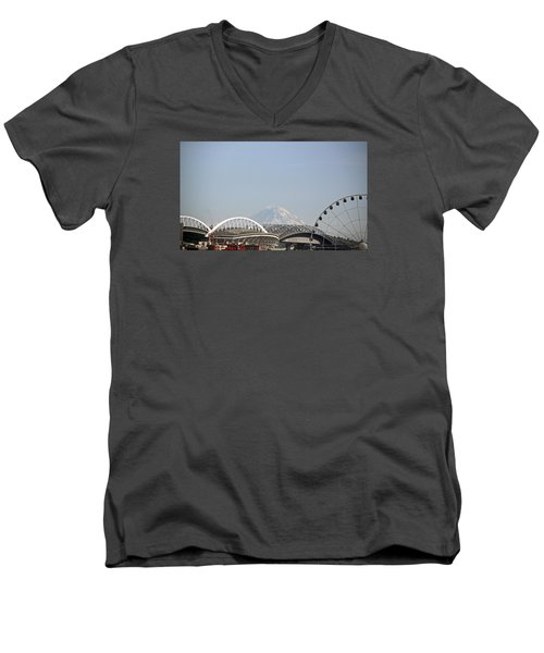 Mountains And City Men's V-Neck T-Shirt