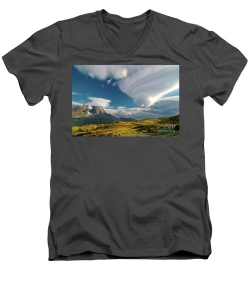 Mountains And Lenticular Cloud In Patagonia Men's V-Neck T-Shirt