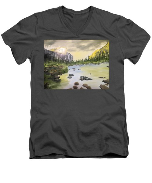 Mountains And Stream Men's V-Neck T-Shirt