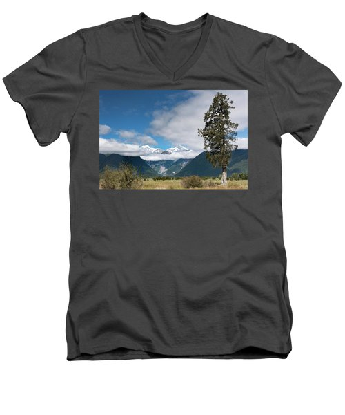 Men's V-Neck T-Shirt featuring the photograph Mountains And Tree, Lake Matheson by Gary Eason