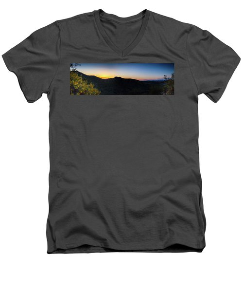 Men's V-Neck T-Shirt featuring the photograph Mountains At Sunset by Ed Cilley