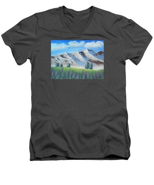 Mountains Men's V-Neck T-Shirt by Brenda Bonfield