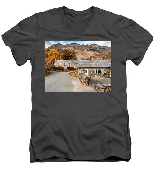 Men's V-Neck T-Shirt featuring the photograph Mountains In The Back Yard by Nick Bywater