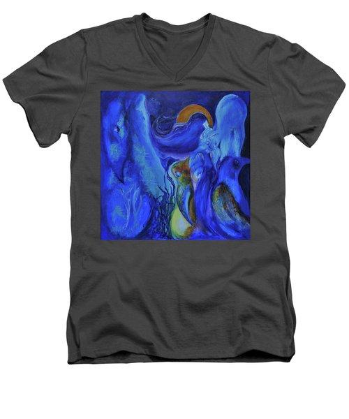 Mourning Birds Of The Final Flower Men's V-Neck T-Shirt by Christophe Ennis