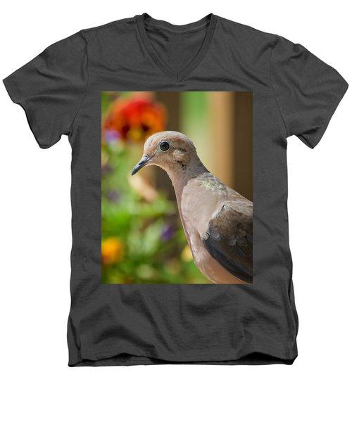 Mourning Dove And Flowers Men's V-Neck T-Shirt