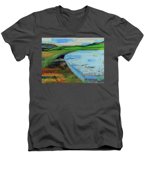 Men's V-Neck T-Shirt featuring the painting Mouth Of The Creek by Walter Fahmy