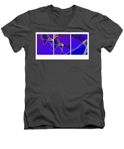 Men's V-Neck T-Shirt featuring the digital art Movement In Blue by Steve Karol
