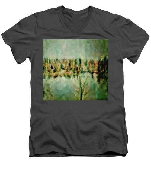 Movie A Chance In The World Placid Lake Frozen In The Winter Fall Ice Bitter Cold Uninviting Cool Pa Men's V-Neck T-Shirt