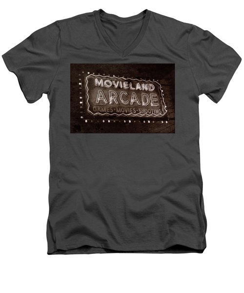 Men's V-Neck T-Shirt featuring the photograph Movieland Arcade - Gritty by Stephen Stookey