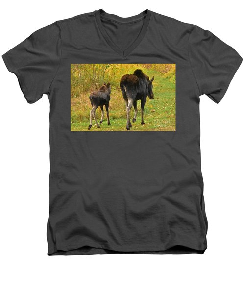 Men's V-Neck T-Shirt featuring the photograph Movin On Down The Road by Sam Rosen