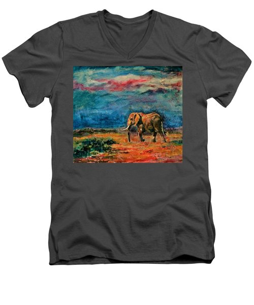 Moving Away Men's V-Neck T-Shirt by Khalid Saeed