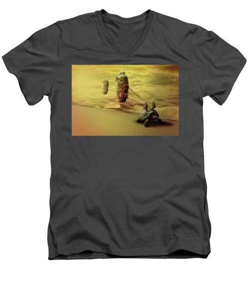 Men's V-Neck T-Shirt featuring the digital art Moving On by Nathan Wright