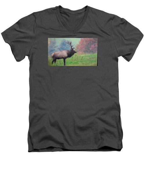 Men's V-Neck T-Shirt featuring the photograph Mr Elk Enjoying The Autumn by Jeanette Oberholtzer