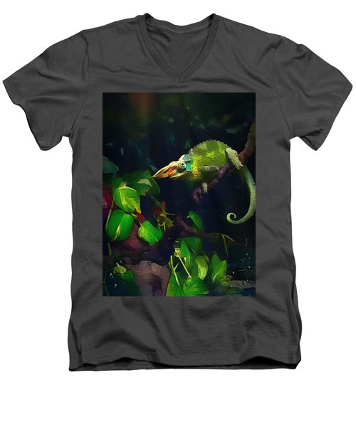 Men's V-Neck T-Shirt featuring the photograph Mr. H.c. Chameleon Esquire by Sharon Jones