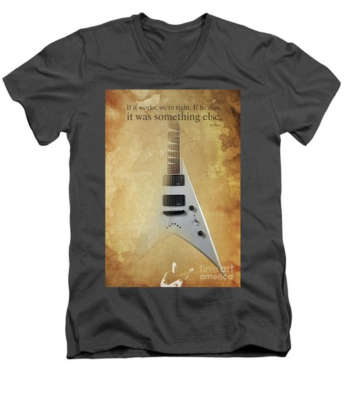 Dr House Inspirational Quote And Electric Guitar Brown Vintage Poster For Musicians And Trekkers Men's V-Neck T-Shirt by Pablo Franchi