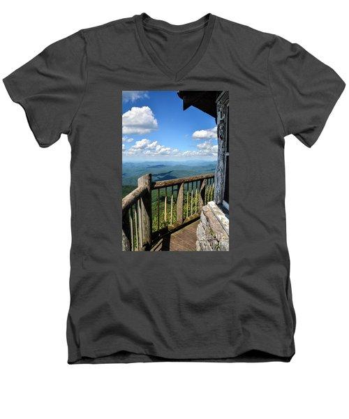 Mt. Cammerer Men's V-Neck T-Shirt by Debbie Green