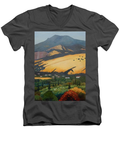 Men's V-Neck T-Shirt featuring the painting Mt. Diablo Above by Gary Coleman