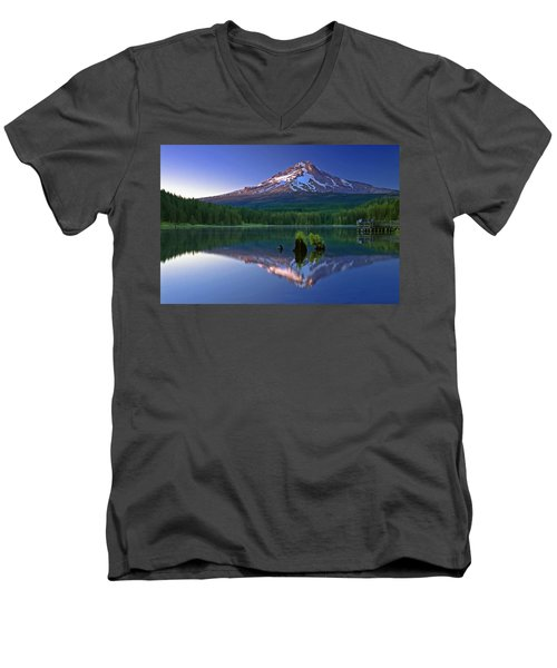 Men's V-Neck T-Shirt featuring the photograph Mt. Hood Reflection At Sunset by William Lee