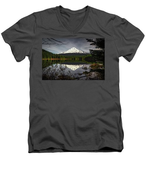 Mt Hood Reflection Men's V-Neck T-Shirt