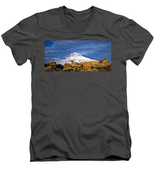 Mt Hood With Talus Men's V-Neck T-Shirt