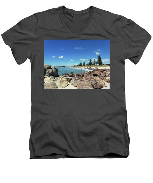 Men's V-Neck T-Shirt featuring the photograph Mt Maunganui Beach 3 - Tauranga New Zealand by Selena Boron