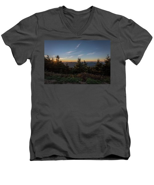 Men's V-Neck T-Shirt featuring the photograph Mt Mitchell Sunset North Carolina 2016 by Terry DeLuco