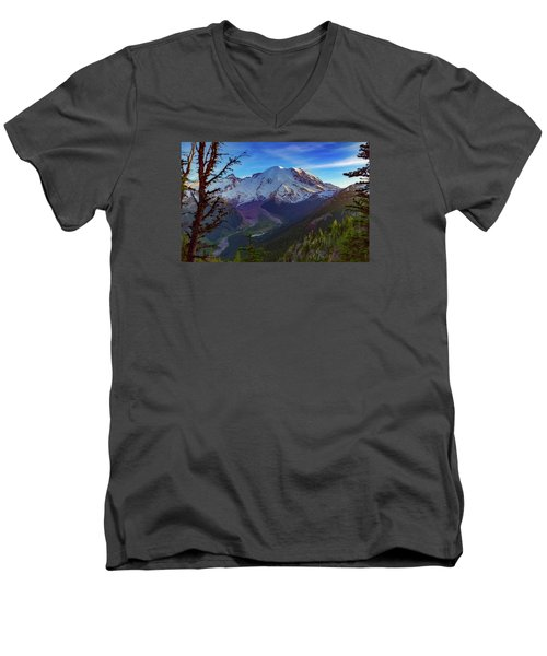 Mt Rainier At Emmons Glacier Men's V-Neck T-Shirt by Ken Stanback
