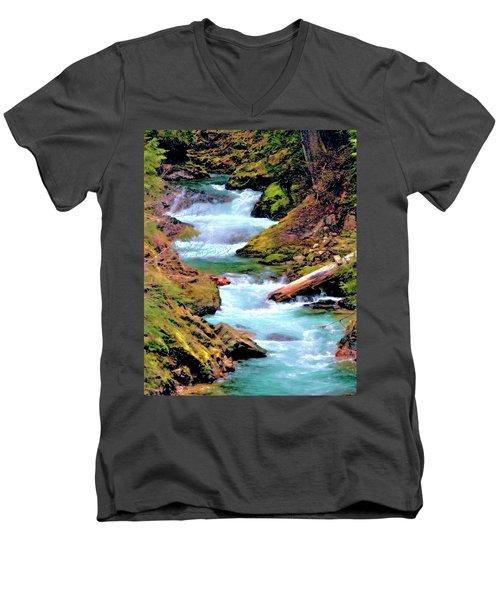 Mt Rainier Cascades, Fine Art Print Men's V-Neck T-Shirt