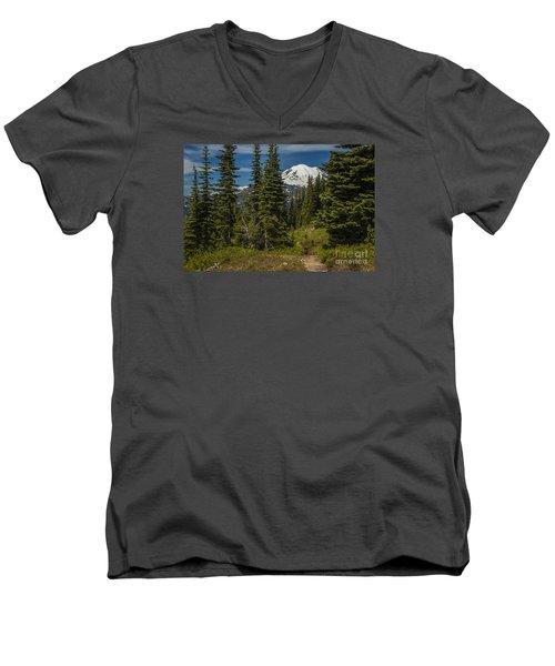 Mt. Rainier Naches Trail Landscape Men's V-Neck T-Shirt