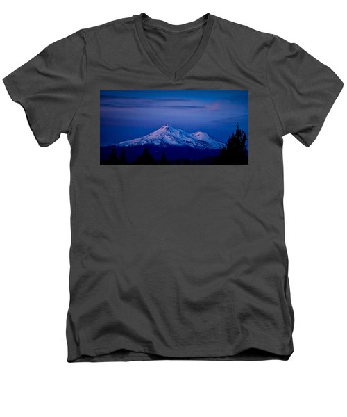 Mt Shasta At Sunrise Men's V-Neck T-Shirt