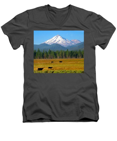 Mt. Shasta Morning Men's V-Neck T-Shirt by Betty Buller Whitehead