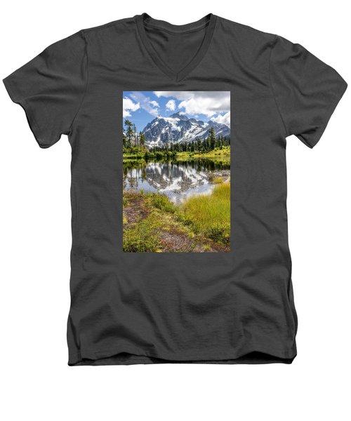 Mt Shuksan On Picture Lake 2 Men's V-Neck T-Shirt