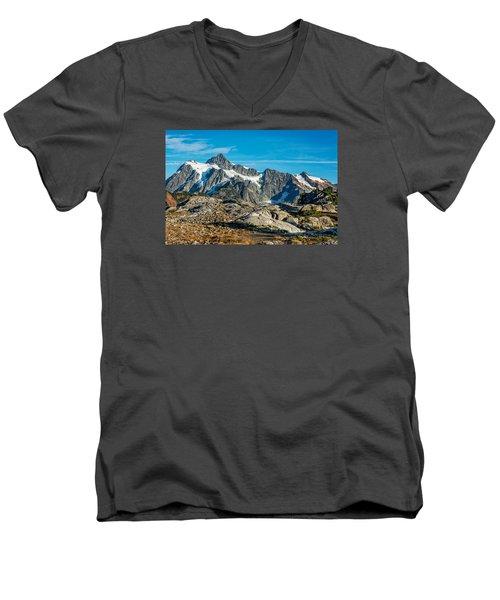 Mt. Shuksan, Washington Men's V-Neck T-Shirt by Sabine Edrissi