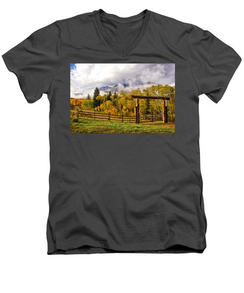 Mt Sopris Under The Clouds Men's V-Neck T-Shirt by Ronda Kimbrow